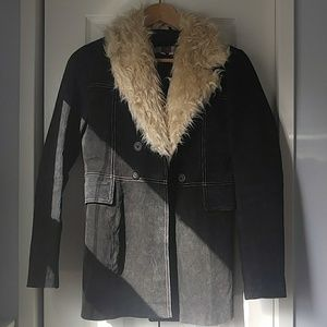Vintage Genuine Suede Leather Faux Fur Pea Coat